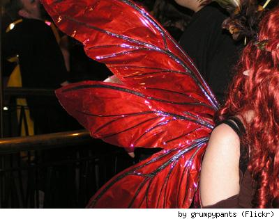 Red fairy wings, by Flickr user Grumpypants.