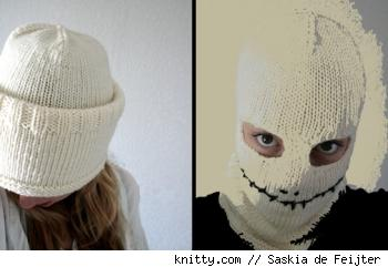 Jackyll and hide skull hat/mask, from Knitty.com, by designer Saskia de Feijter.