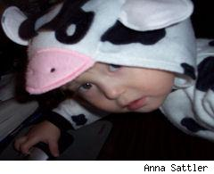 little girl dressed in a cow costume