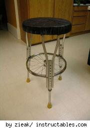 crutches and bike parts make a stool