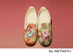 pair of painted shoes