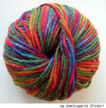 A colorful ball of yarn. By Flickr user Chatiryworld.