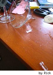 broken glass on table