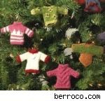 Berroco's Minutia: tiny sweaters for your trees and packages. Free pattern, fair use size photo.
