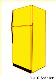 old yellow refrigerator