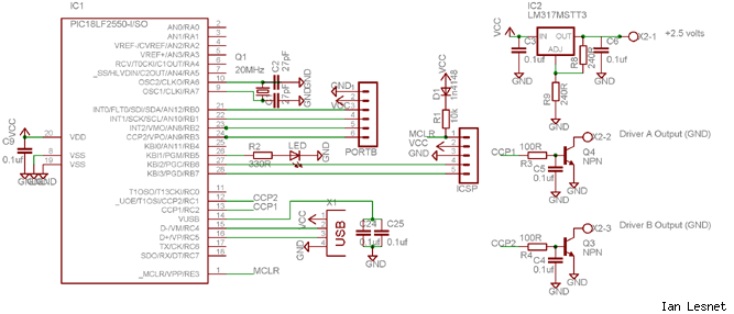 USB analog gauge driver circuit