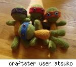 Teenage Mutant Ninja Turtles amigurumi dolls, by Craftster user Atsuko