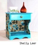 Nightstand upholstered with Amy Butler fabric, by Shelly Leer.