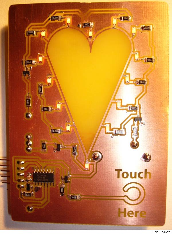 Front of the LED valentine, lit.