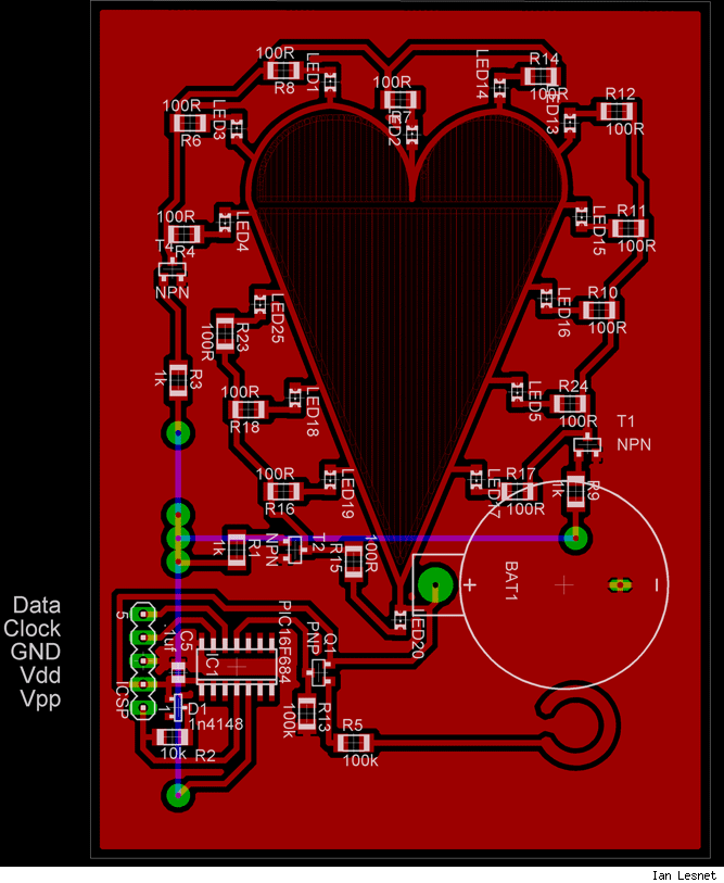 LED valentine, part placement.