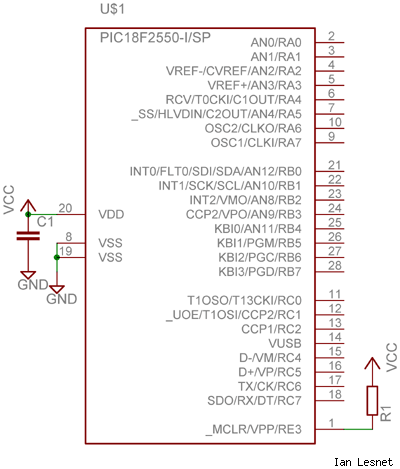 Minimum connections for a PIC microcontroller