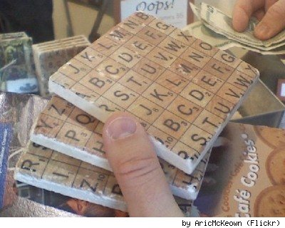 Scrabble tile coasters, by Flickr user Aric McKeown