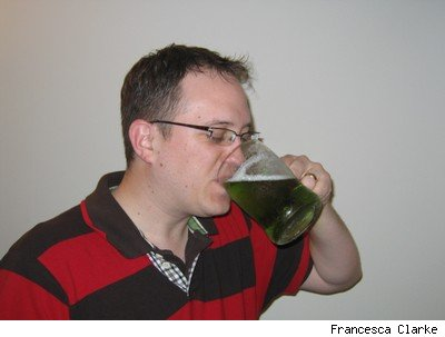Drinking green beer for St.Patrick's day