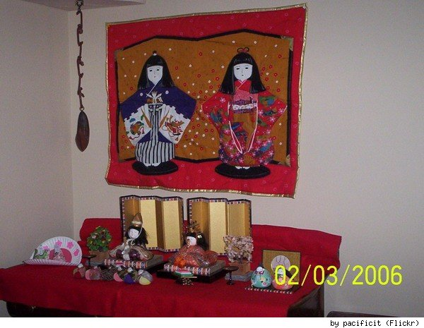 A variety of hina dolls