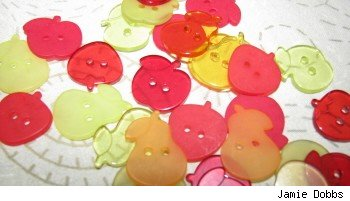 Pile of decorative fruit shaped buttons