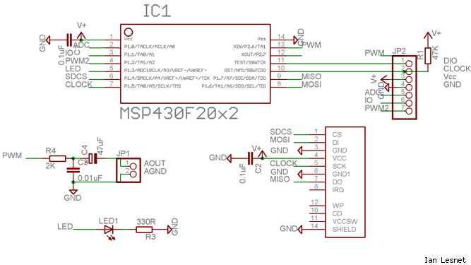 MSP430 audio prototype circuit