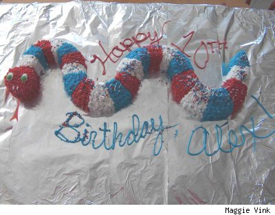 red, white and blue snake-shaped cake