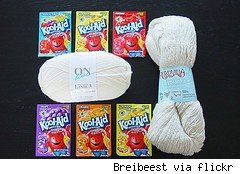 kool-aid packages and ready to be dyed yarn