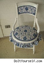 repainted and reupholstered chair