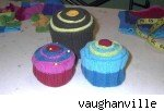 Cupcake pincushions made from sweaters