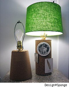 cork lamps with green lampshade