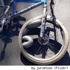 over inflated mountain bike tire