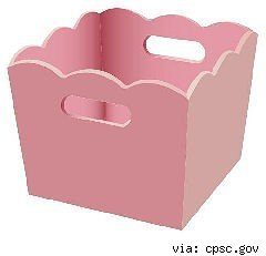 pink scalloped edge wood storage bin