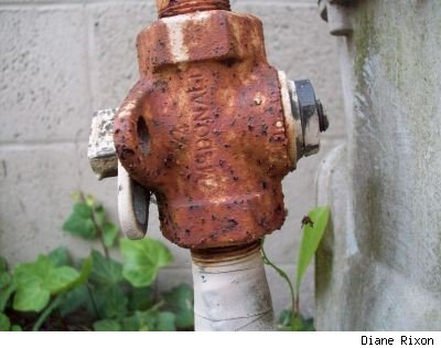 Closeup photo by Diane Rixon of rusted gas meter pipe