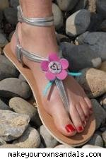sandal with pink flower charm