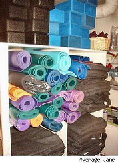 rolls of yoga mats