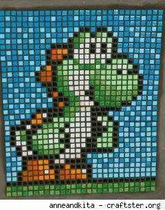 Super Mario buddy Yoshi in mosaic form, by Craftster's Anneandkita