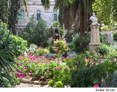 St. Anne's Church, Jerusalem, courtyard garden with flowering perennials and palm trees, taken by Diane Rixon
