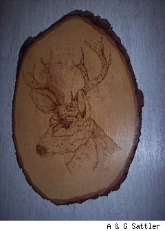 wood deer plaque