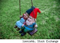 Stock Exchange image of two garden gnomes on a swing surrounded by lawn