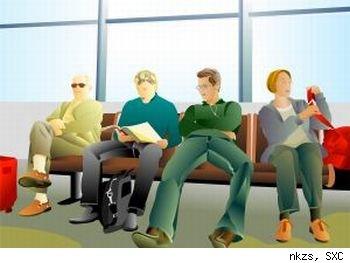 Stock illustration - travelers at airport