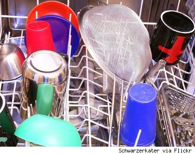 open dishwasher loaded with colorful dishes