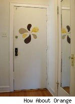 fabric decals on a white door