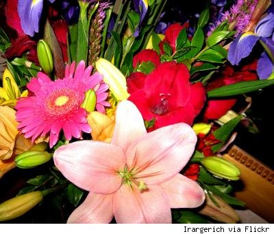 colorful flower arrangement with lilies
