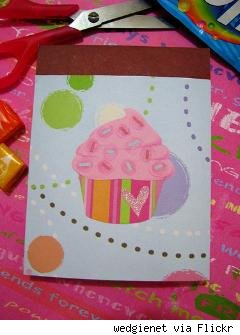 cupcake notebook decorated with scrapbooking materials