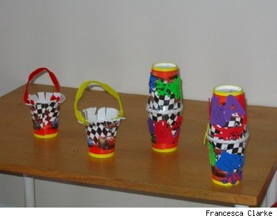paper cup crafts: maracas and baskets
