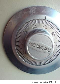 close-up of safe combination lock