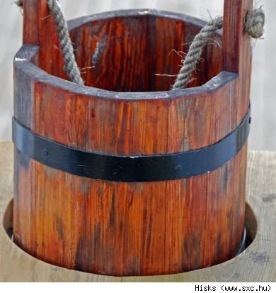 A wooden pail planter