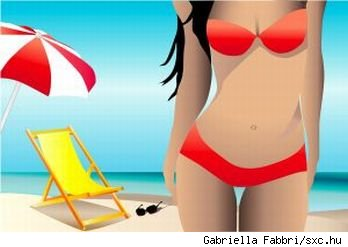 Graphic of woman clad in a red bikini with beach background, source: sxc.hu.