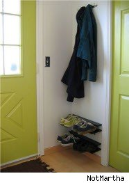 shoe-rack, jackets, entryway, doors