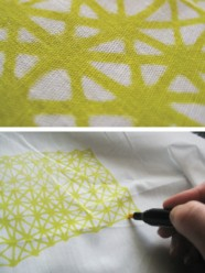 fabric, markers, yellow, tablecloth, pattern