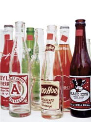 vintage, soda bottles, collection, glass