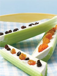 celery, raisins, fruit, cream cheese, snack, food