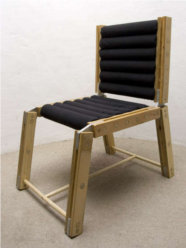 chair, pool noodles, wood, black, styrofoam