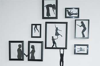 silhouette, black, wall, diy, frames, photos