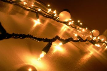 Christmas lights on a wall